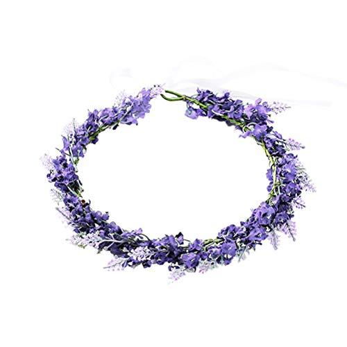 Lurrose Flower Headband Flower Crown Lavender Floral Wreath Headband Headpiece for Bridal Girls Women Wedding Birthday Party Hair Accessories (Light Purple)