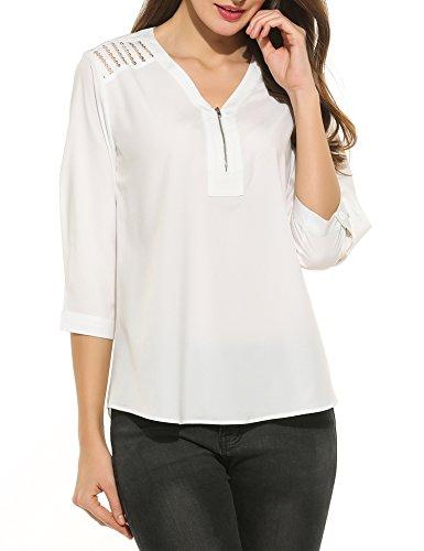 Meaneor Damen Elegant Bluse V-Ausschnitt mit Knopf Hemdbluse Langarm Stehkragen Blusenshirt Locker Shirts Casual Freizeit Tunika Oberteil Tops (C-Weiß, 42)