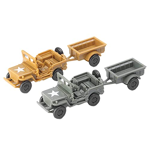 perfeclan Kit de Modelo 4D de 2 Piezas, camión de la Segunda Mundial a Escala 1/72 con Juego de Remolque, Mesa de Arena, Juguete Educativo,