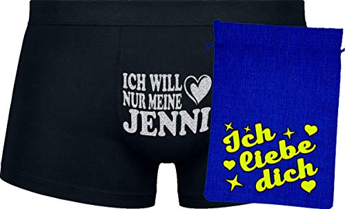 Herr Plavkin Geschenk | Ich Will nur Meine Jenni | Black Boxers | Blue Bag | Yellow ''Ich Liebe Dich ''