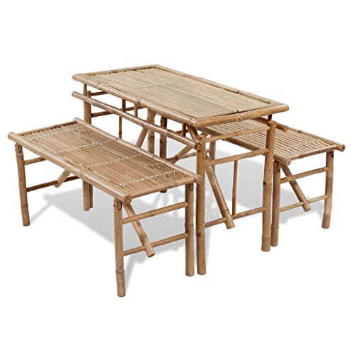 Unfade Memory Folding Picnic Beer Table with 2 Benches 39.4', Bamboo Outdoor Dining Furniture Set for Patio Backyard Poolside