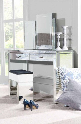 MY-FurnitureMy-Furniture Venetian Mirrored Dressing Table/Console & Triple folding dressing table mirror & Mirrored STOOL