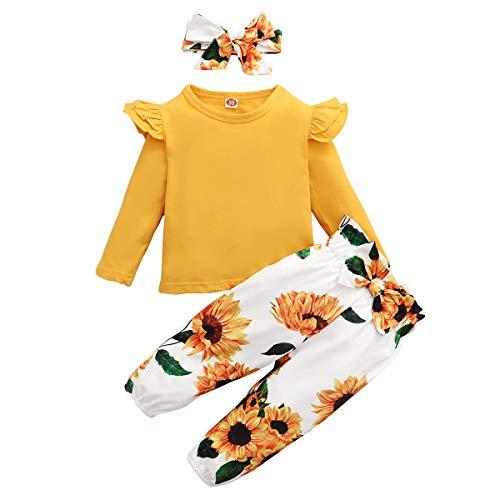 ZOEREA Conjunto de Ropa de Bebé Niña Encantador Manga Larga Tops con Volantes + Pantalones Floral + Venda Recién Nacido Niñas Otoño Primavera Trajes 3 Piezas (Estilo 1 Girasol, 2-3 años)