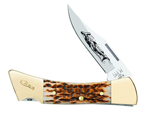 CASE XX Peach Seed Jigged Amber Bone Hammerhead Lockback Stainless Pocket Knife Knives Amber Peach Seed Jigged Bone