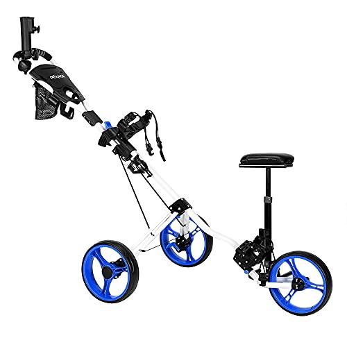 PEXMOR Golf Push Cart, 3 Wheels Foldable Trolley w/PU Seat, Golf Club Easy Push Pull Cart Trolley w/Foot Brake, Umbrella Holder, Scoreboard Bag & More (Blue)
