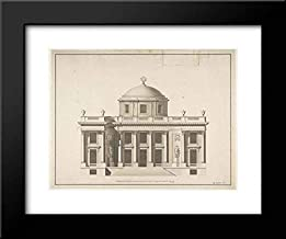Anonymous Artist, French, 18th Century - 18x15 Framed Museum Art Print- Project for a Domed Building with Colonnaded Facade