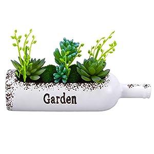 LXLTL Artificial Plants, Artificial Succulent Plants Potted in Wine Bottle Fake Succulents Plants Simulation Plants Pots for Home Garden Decor Green