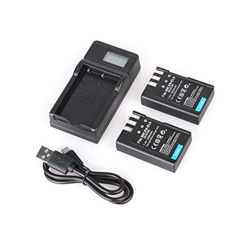 BiaBai Paquete de batería de iones de litio de repuesto de 2 piezas EN-EL9 7,4 V 1200 mAh + cargador de batería USB para una sola cámara con kit de pantalla LCD