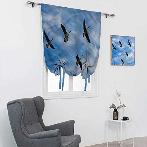 """Thermal Curtain Geese Rod Pocket Curtains for Windows Flock of Canada Birds Spring 42"""" Wide by 72"""" Long"""