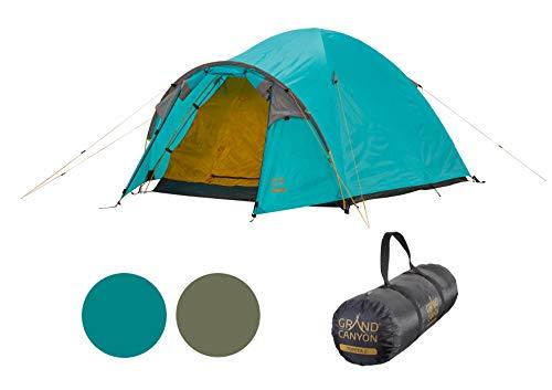 Grand Canyon TOPEKA 3 - Tenda a cupola per 3 persone   ultraleggera, impermeabile, di piccole dimensioni   tenda per il trekking, campeggio, all'aperto   Blue Grass (blu)