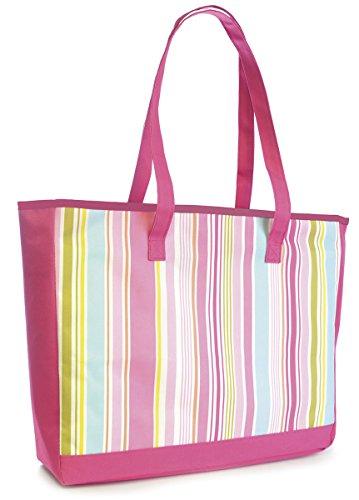 Socks Uwear Grande in alluminio, motivo a righe, stile Cool-Borsa Shopper Tote-Borsa a tracolla, Rosso (rosa),