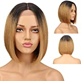 Ombre Blonde Short Bob Wigs Human Hair Lace Front Wigs For Women Middle Part 100% Brazilian Virgin Hair Remy Silky Straight Ombre Bob Wigs 130% Density Ombre Blonde Human Hair Wigs TT1B/27 Color