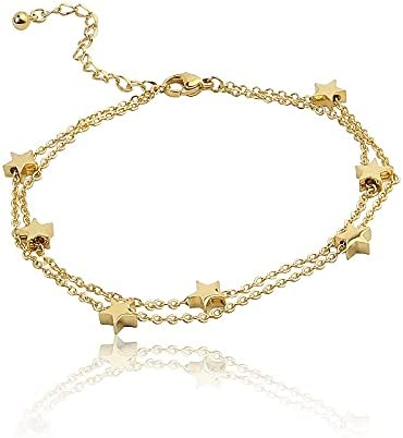 ! Super beauty product restock quality top! ZHAOSHOP Highly Polished Beautiful Double free Chain Star Ti Bracelet