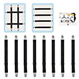 QoeCycth Adjustable Bed Sheet Straps Clips, Elastic Mattress Sheet Fasteners Holder and Suspenders, Grippers to Hold Sheet, Mattress, Sofa, Couch, Table Cloth, Ironing Board Cover, 8Pcs, Black