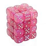 Chessex Borealis 12mm d6 Pink/Silver Luminary Dice Block (36 dice) (27984)