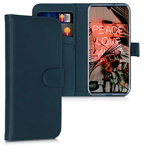 kwmobile Wallet Case Compatible with ZTE Axon 10 Pro - PU Leather Flip Cover with Magnetic Closure, Card Slots and Kickstand - Petrol