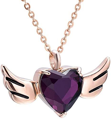 Colgante de acero, recuerdo conmemorativo, collar de urna de cremación de acero inoxidable, piedra de nacimiento púrpura, soporte para cenizas conmemorativas, urna de corazón de recuerdo