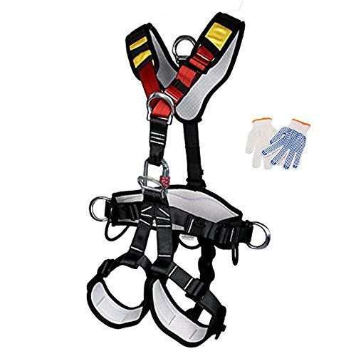 HEEJO Climbing Harness, Full Body Safety Harness Safe Seat Belt for Outdoor Tree Climbing Harness, Mountaineering Outward Band Expanding Training Caving Rock Climbing Large Size