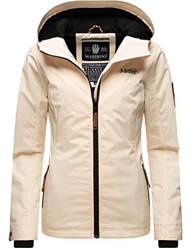Marikoo Giacca da donna per le mezze stagioni con cappuccio, colore: mora XS-XXL beige. XL