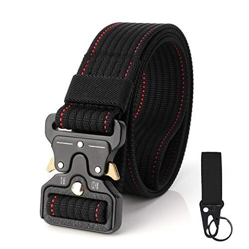 S.Lux 2 Piezas Hombres Cinturón de Lona, YKK Hebilla de Plástico Cinturón de Secado Rápido Transpirable Hipoalergénico Cinturón Recreación al aire libre Fitness Ejercicio (Negro con Línea Roja)