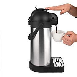 in budget affordable Cresimo 101 oz (3 l) Air Pot Thermal Coffee Carafe / Lever Mechanism / Stainless Steel Thermos /…