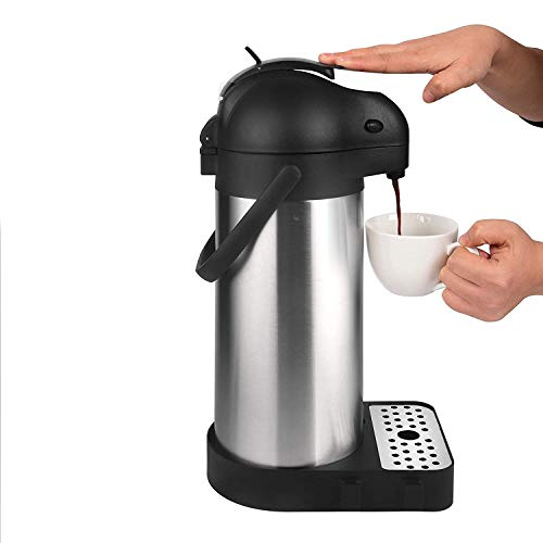Cresimo 101 Oz (3L) Airpot Thermal Coffee Carafe/Lever Action/Stainless Steel Insulated Thermos / 12 Hour Heat Retention / 24 Hour Cold Retention (Airpot with Drip Tray)