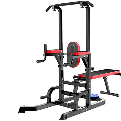 NENGGE Power Tower Adjustable Height Workout Pull Up Dip Station Multi-Function Home Gym Strength Training Fitness Equipment with Bench & Twist Waist Function, Support Up to 400kg, 2021