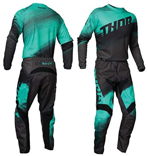 Thor Mx Erwachsene Motocross Trikot und Hose SECTOR VAPOR 2021 Erwachsene Rennanzug Quad Trial ATV BMX Off Road Enduro Shirt und Hose Set (Schwarz/Weiß: Top (L), 71,1 cm)