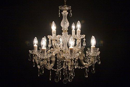 Kronleuchter Maria Theresa 8+4 flammig Gold - Ø60cm Venezianischen Glas - Klassisches Lüster Goldfarbe 12 Armig