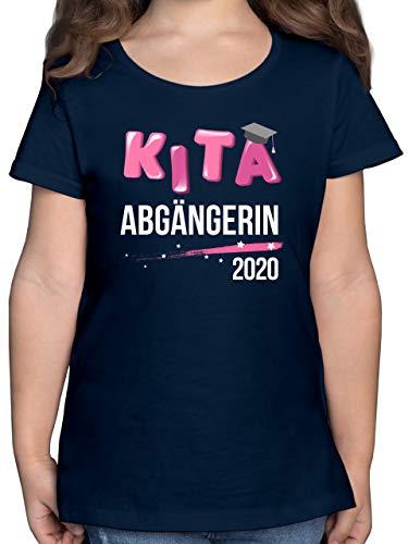 Einschulung und Schulanfang - Kita Abgängerin 2020 Sterne - 128 (7/8 Jahre) - Dunkelblau - t-Shirt 164 mädchen - F131K - Mädchen Kinder T-Shirt