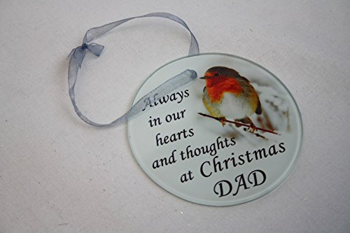 David Fischhoff Robin Christmas Tree Hanging Glass Memorial Ornament - Choice of Relative (Dad), 5055361742439