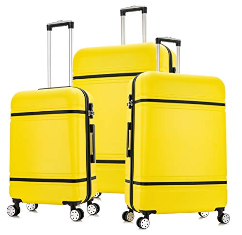 """DK Luggage Lightweight ABS-147 Hard Shell Suitcase 4 Wheel Spinner with Tan Trimming Yellow Set of 3 Sizes - 28""""+24""""+20"""""""