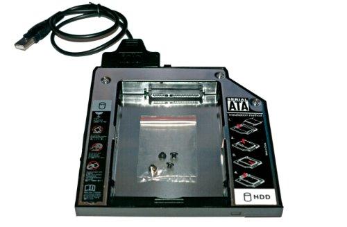 Preisvergleich Produktbild HDD / SSD Ultrabay Enhanced SATA III Module + USB-SATA-Kabel für Lenovo ThinkPad R400,  R500,  T420,  T420i,  T430,  T510,  T510i,  T520,  T530,  W510,  W520,  W530,  W700 - 2nd HDD Festplattenrahmen Adapter Caddy 12.7 mm (SATA auf SATA) - TheNatural2020