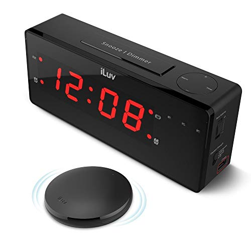 iLuv TimeShaker Boom, Alarm Clock with Wireless Rechargeable Bed Shaker, Built-In Alert Light, Panic Sound Adjuster, 1.4' Jumbo LED, and USB Charging Port (Black)