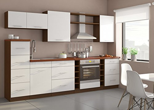 Küche Trend 290cm Küchenzeile/Küchenblock variabel stellbar in Hochglanz Weiss/nussbaum