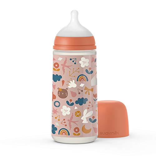 Suavinex 307086 - Biberón para tetina simétrica Sx Pro L Forest naranja de teja rosa 360 ml