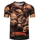 Fantaisie De Cochon Animal T-Shirt Drôle pour Hommes T-Shirts À Manches Courtes Graphiques Imprimés en 3D Tops Unisexe,2XL