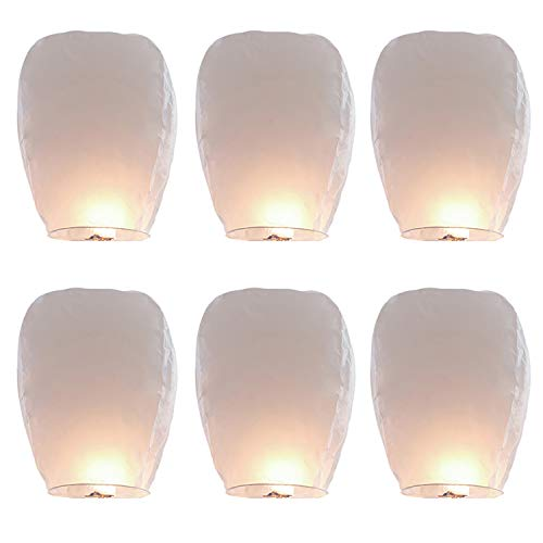 Rekon 6 Pack White Chinese Paper Lanterns, 100% Biodegradable Eco Friendly Flying Sky Lantern for Birthdays, Parties, New Years, Memorial Ceremonies and More