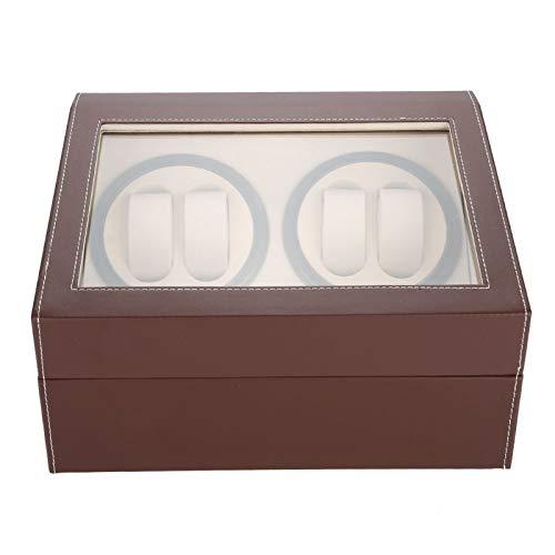 GJHBFUK EnrolladordeReloj Enrollador De Reloj para 4 Relojes Automáticos + 6 Rejillas Caja De Almacenamiento De Reloj Motor Silencioso (marrón 100‑240 V)