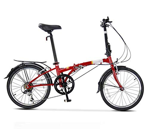 Bicicleta plegable de montaña de la bicicleta, Hombres Mujeres 6 de velocidad variable velocidad Doble V Frenos fuera de la carretera paseo en bicicleta Viajes de bicicletas, 20inches estudiante adult