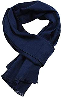Autumn and Winter Solid Color Imitation Cashmere Scarf Men's Monochrome Double-Sided Scarf Yarn-Dyed Shawl,Blue yppss (Color : Blue, Size : -)