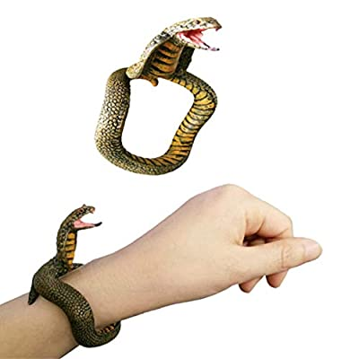 Binory Simulation Resin Animal Python Bracelet Handmade Painted PVC Material Prank Toy for Kids Adults April Fools Day Birthday Gift(F)