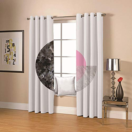QHDIK Blackout Curtains Eyelet Thermal Insulated Draperies Room Darkening Super Soft Marbling Patterns Printed Curtains for Living Room Bedroom Kids Room 2 Panels W46 x H72 inch