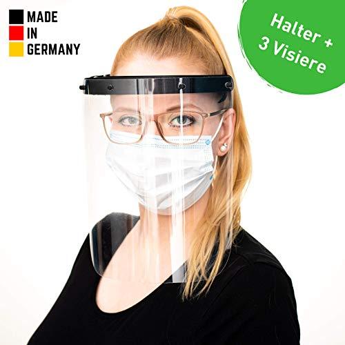 Hochwertiges Visier Gesichtsschutz aus Kunststoff (+2 Ersatzfolien) - Face Shield - Schutzschild für das Gesicht - Made in Germany