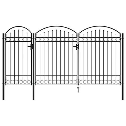 vidaXL Cancello per Giardino ad Arco con Serratura e Maniglie Stabile Durevole Ingresso Porta Recinzione in Acciaio Zincato 2,25x4 m Nero