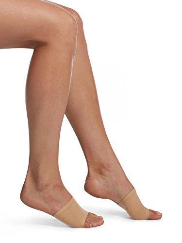 HUE Women's Open Toe Slide Sandal Liner Sock, 2 Pair Pack, Cream and black, One Size