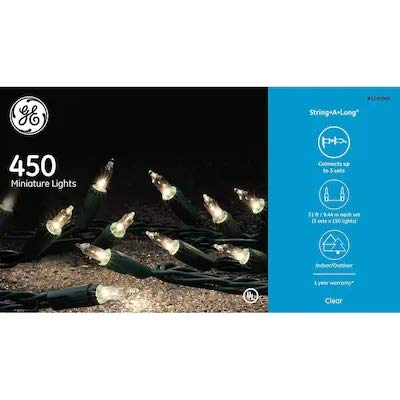 GE 60916LO String-A-Long 450-Count Constant Clear Incandescent Christmas String Lights 60915LO