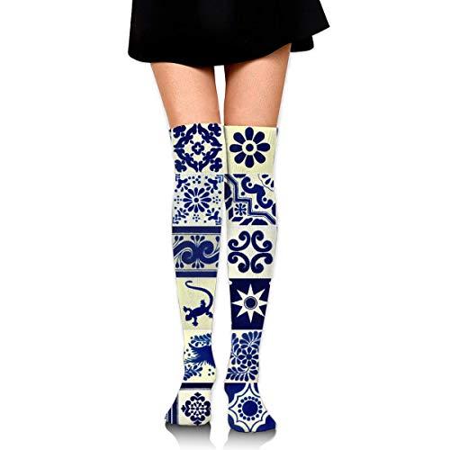 Mexicaanse gestileerde Talavera Tegels Patroon Katoen Compressie Sokken voor Vrouwen Afgestudeerde Kousen voor verpleegkundigen, Moederschap, Reizen, Vlucht, Spataderen, Hardlopen & Fitness, Kalf Ondersteuning