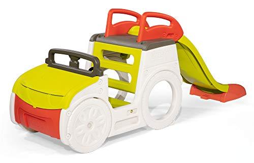 Smoby 7600840205 – Abenteuer-Spielauto – großes Spielcenter mit Sandkasten und Rutsche mit Wasseranschluss, Spielzeug für den Garten, für Kinder ab 18 Monaten