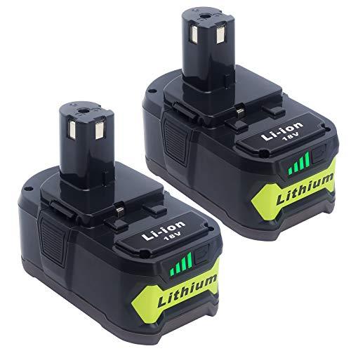 2-Pack 6.0Ah P108 18V Lithium Battery Replacement for Ryobi 18V Battery, for Ryobi 18V One+ Cordless Tools P884 P1819 Battery P197 P100 P102 P191 P190 P104 P192 P107 P105 P103 P109
